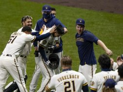 Brewers Hiura celebrate AP