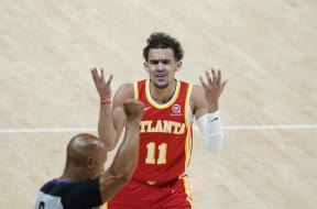 Trae Young cries at ref Gm 3 AP