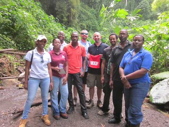 The October Isotope Hydrology workshop participants near a sinking stream study site in Jamaica.