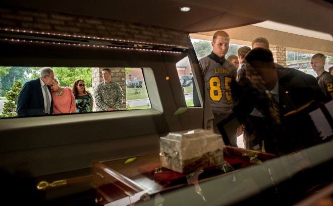The funeral for Nicholas Mankin, 16, a rising senior at Red Lion High school was held at Olewiler & Heffner Funeral Chapel in Red Lion on Saturday, June 20 2015. Mankin passed away after a car accident along with one of his football teammates.