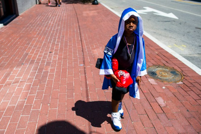 "LOUISVILLE, KY - JUNE 08: Roddrick Woods, 5, visited the Muhammad Ali Center and I Am Ali festival on June 8, 2016 in Louisville, Kentucky. Woods did a Kindergarten project on Ali. ""He was a boxer from Louisville. Float like a butterfly, sting like a bee!"" Woods said."