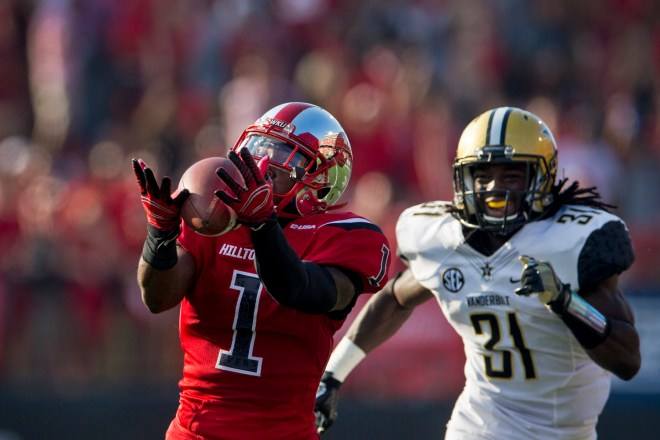 Western Kentucky University wide receiver Nacarius Fant (1) makes a 61 yard catches for a touchdown during the second quarter of the Western Kentucky University-Vanderbilt University game on Saturday Sept. 24, 2016 at L.T. Smith Stadium in Bowling Green.