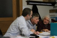 Starke County IT Director Joe Short, Democrat James A. Henriott and Republican Marilyn Folkers review vote totals in the two races in which challenges were filed.