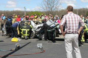 First responders from the Hamlet and Koontz Lake Fire Departments assisted with the mock crash at Oregon-Davis.