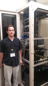 Culver-Union Township Public Library IT Manager Andrew Baker with some of the new networking equipment.