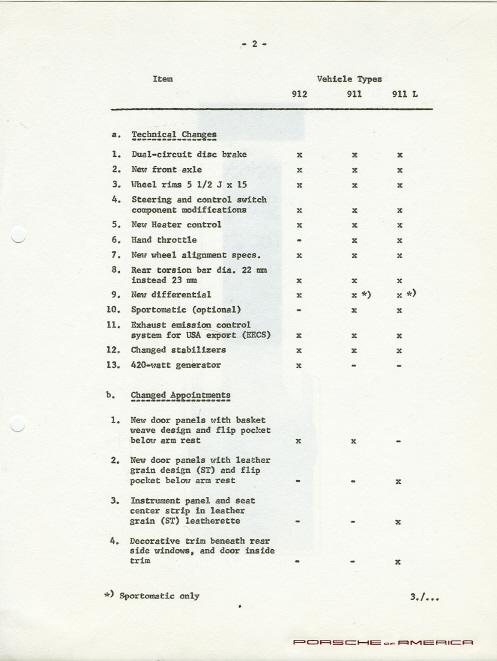 1968 Porsche 911/912 brochures/new model announcements/pre