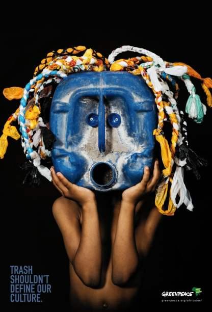 """Afrykańskie maski zrobione ze śmieci i skuteczna kampania ekologiczna """"Trash shouldn't define our culture"""" - wlaczoszczedzanie.pl - Advantage Y&R / @Greenpeace Africa / @Petrus Shiimi i Saima Ita"""