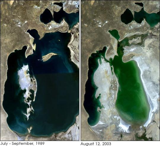 Wysychanie wód Jeziora Aralskiego - zdjęcia z 1989 i 2003 roku