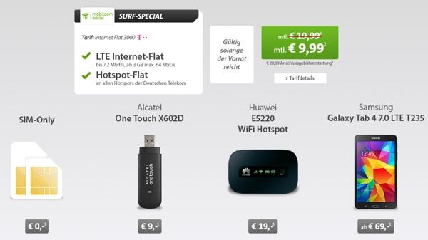 günstige Datenflat, Internetflat Surfflat der Telekom im D-Netz