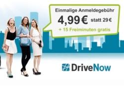 DriveNow Anmeldegebühr sparen und 15 Freiminuten gratis dazu