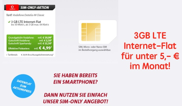 günstiger Datentarif im Vodafonenetz unter 5 Euro