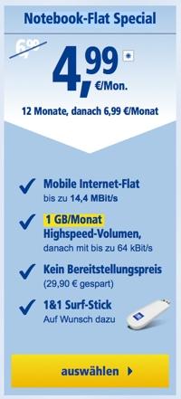 Notebook-Flat Special Datentarif 1&1