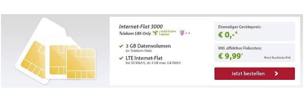 günstiger Telekom Datentarif 3GB LTE 4G unter 10 Euro im Monat