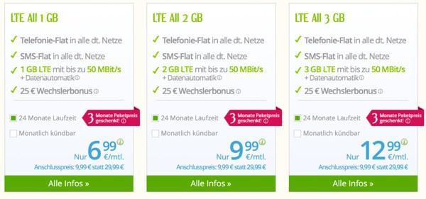 günstige Allnet Flat + SMS Flat + 2GB LTE Surfflat