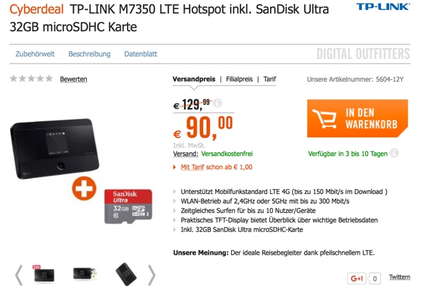 TP Link M7350 LTE Wlan Router im Auto