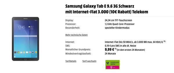 Telekom Datentarif mit Samsung Galaxy Tab