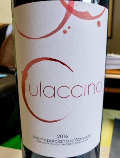 Label from bottle of Culaccino Montepulciano d'Abruzzo 2016