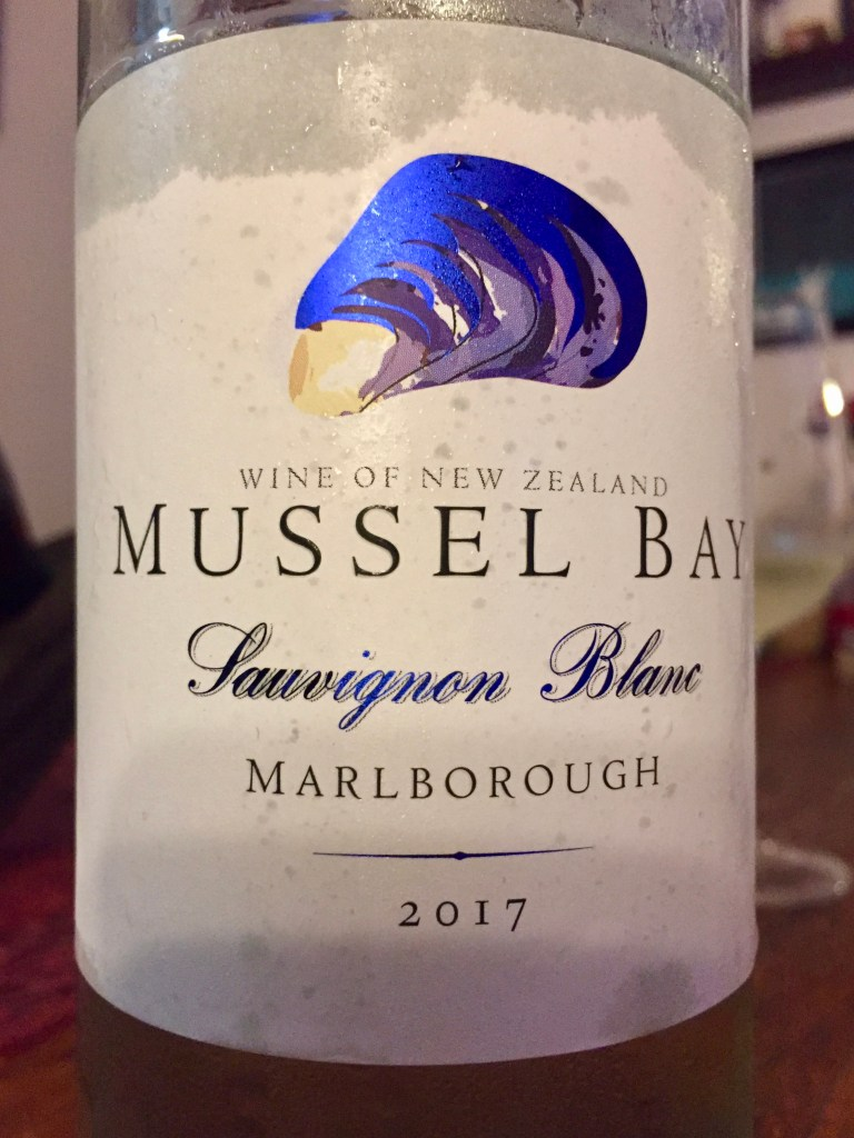 Label on bottle of Mussel Bay Marlborough Sauvignon Blanc 2017