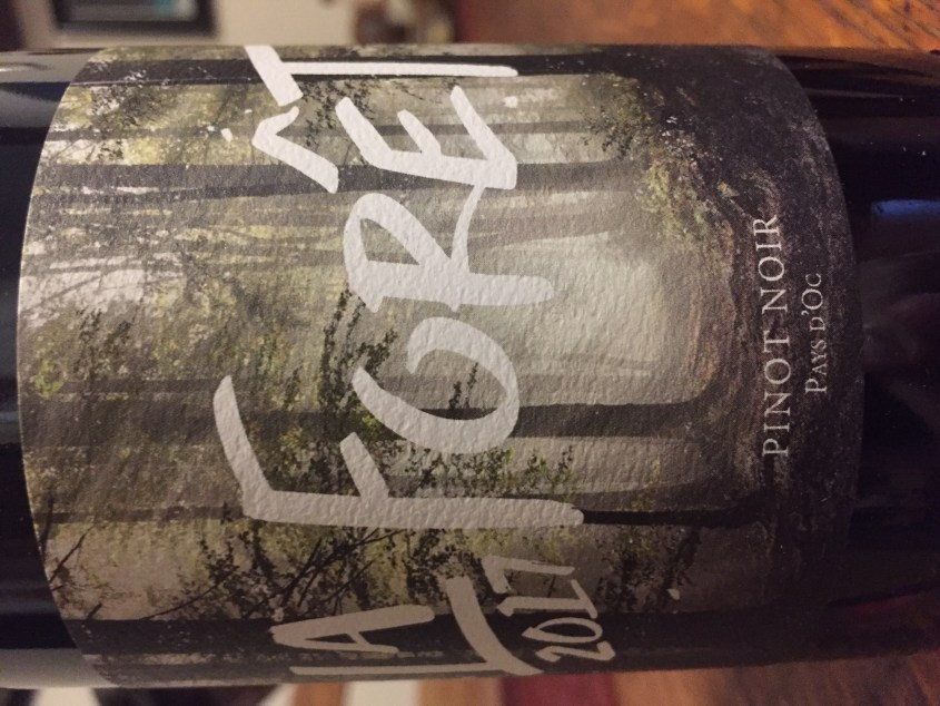 Label from bottle of La Foret Pays d'Oc Pinot Noir 2017