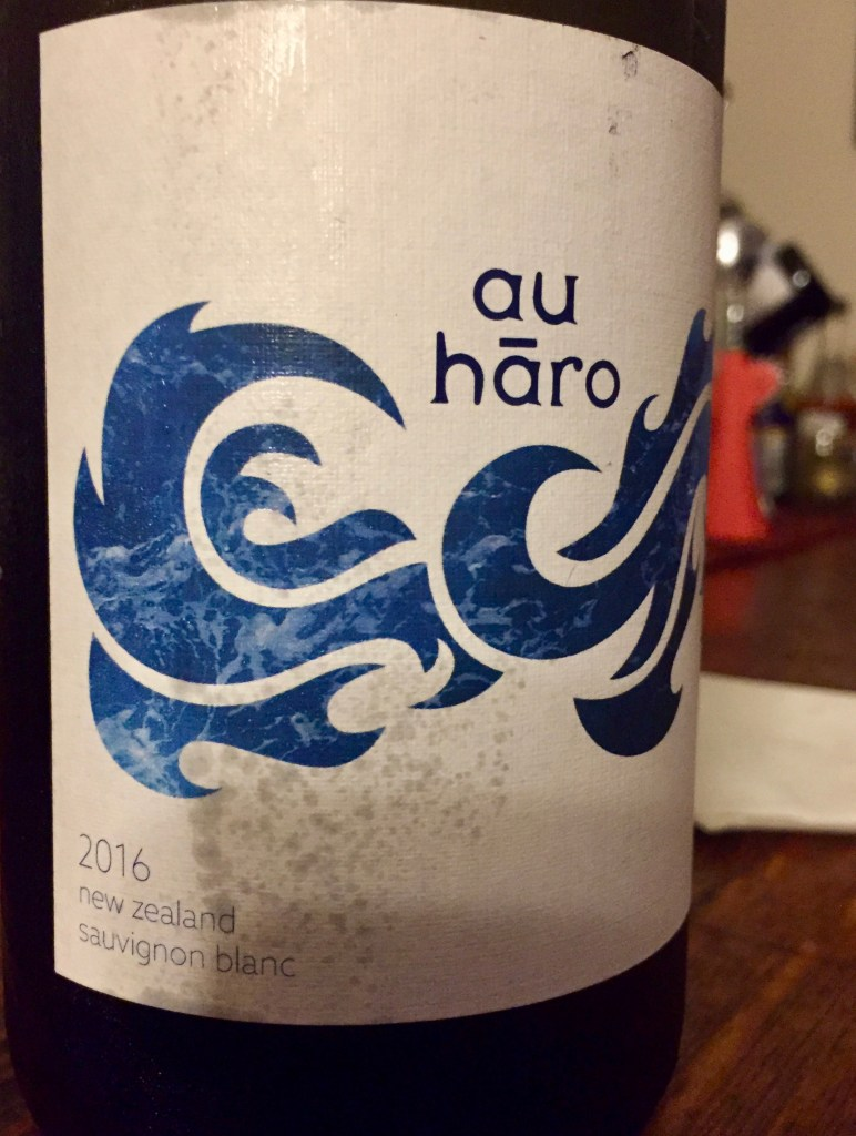 Label from bottle of Au Hãro New Zealand Sauvignon Blac 2016