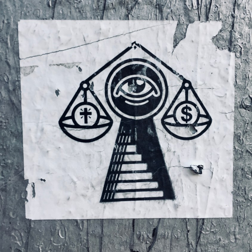 Black and white sticker of a Stairway to Heaven with a balance of Cash and Cross under a Watchful Eye