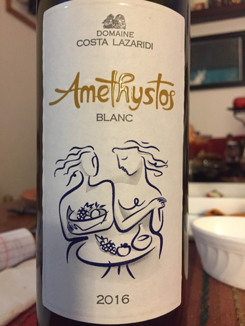 Label from bottle of Costa Lazaridi Amethystos Blanc 2016