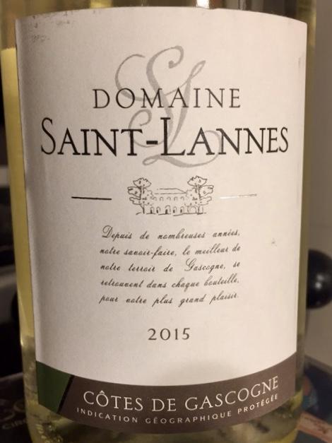 Lable from bottle of Saint-Lannes Côtes de Gascogne IGP 2015 (blanc) 2015