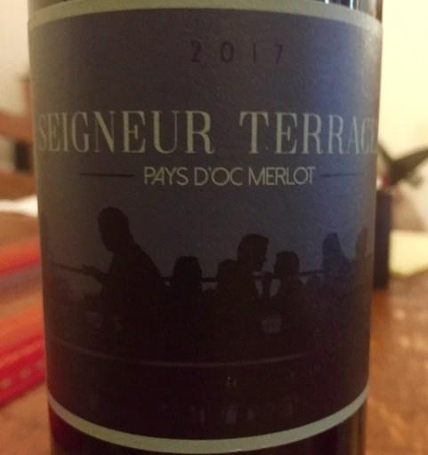 Label from Seigneur Terrace Pays D'Oc Merlot 2017