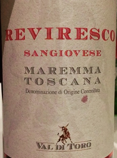 Label from bottle of Reviresco Maremma Toscana Sangiovese 13
