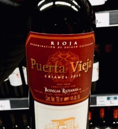 "Label from bottle of Puerta Vieja Rioja Crianza 2013 ""Bodegas Riojanas"""
