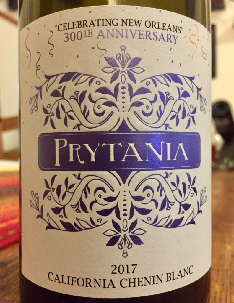 Label from bottle of Prytania Califorina Chenin Blanc 2017