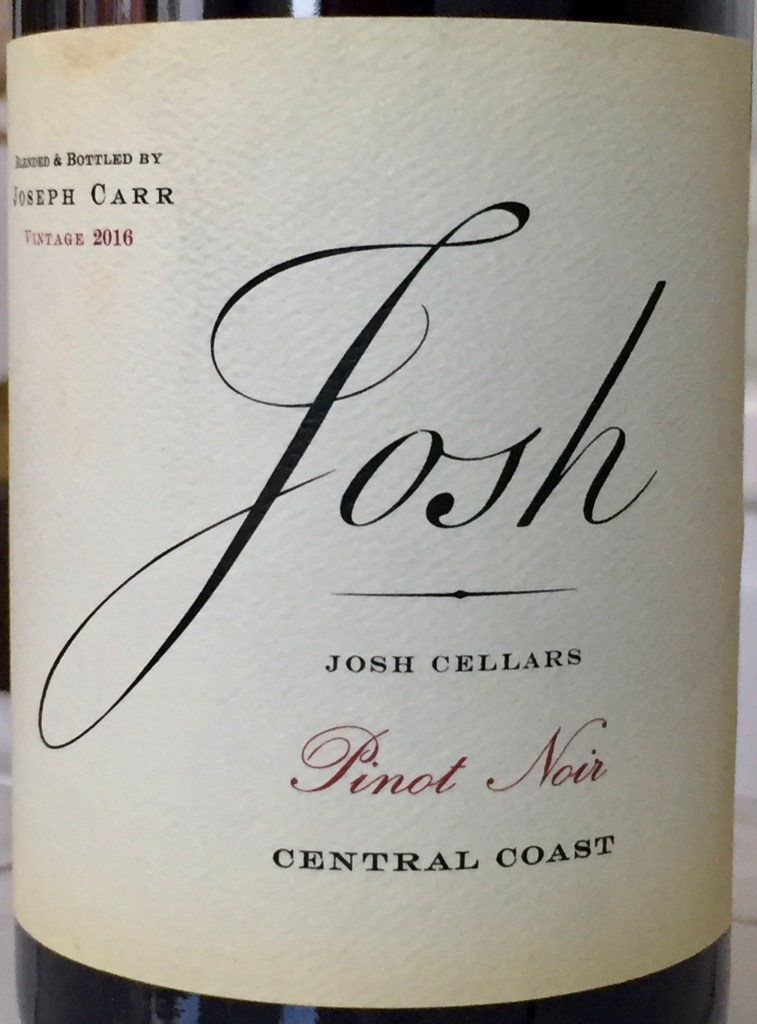 label from bottle of Josh Cellars Central Coast Pinot Noir 2016