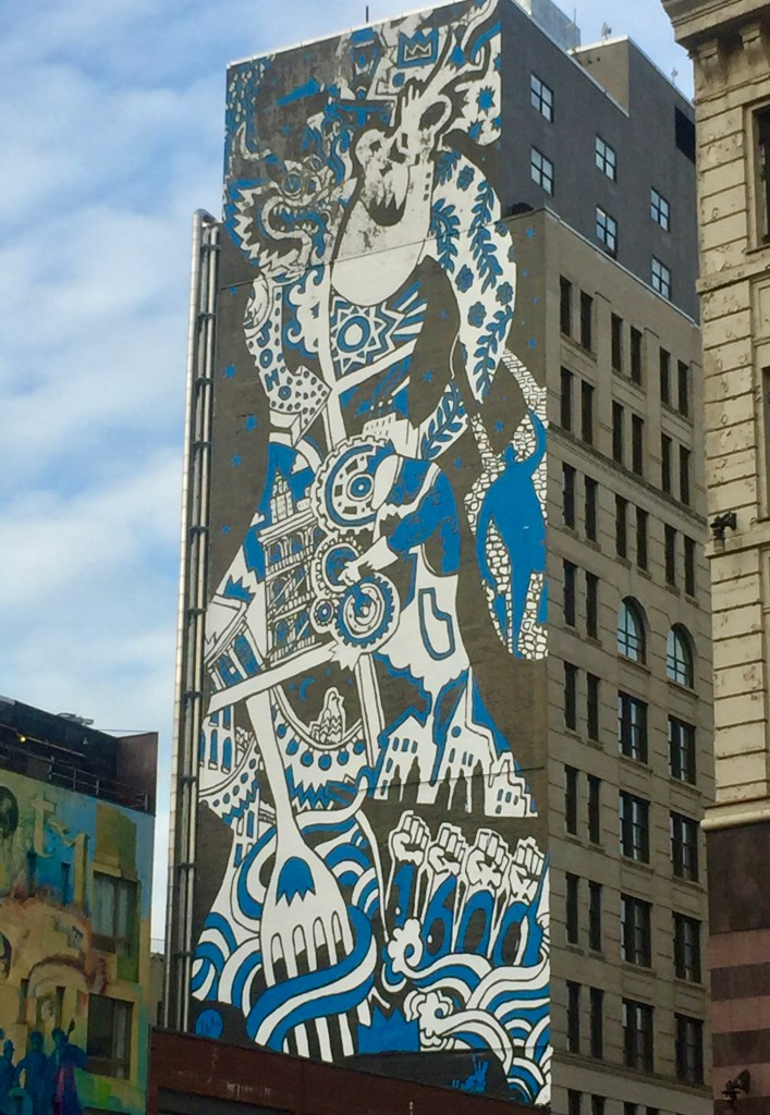 11 Story tall blue and white mural on Canal street, with an Asian Dragon, trumpeter, Soho, 1600 and other images