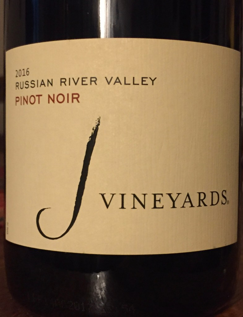 Label from bottle of J Vineyards Russian River Valley Pinot Noir 2016