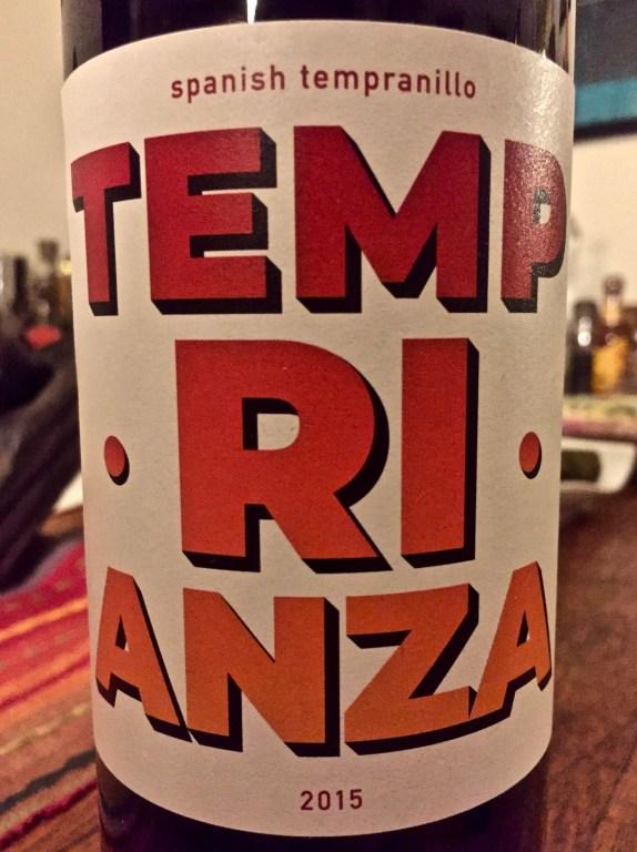 Label from bottle of Temp•Ri•Anza Spanish Tempranillo 2015