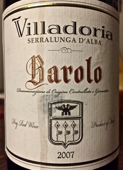 Label from bottle of Villadoria Serralunge d'Alba Barolo 2007
