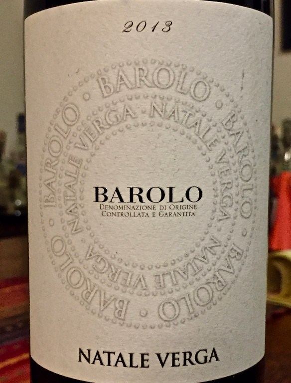 Label from bottle of Natale Verga Barolo DOCG 2013