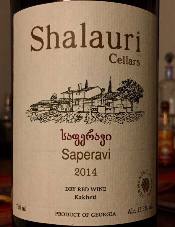 Label from bottle of Shalauri Cellars Kakheti Saperavi 2014, Qvevri