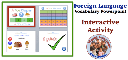 Interactive Foreign Language Vocabulary Game Using Powerpoint (French, Spanish) wlteacher.wordpress.com