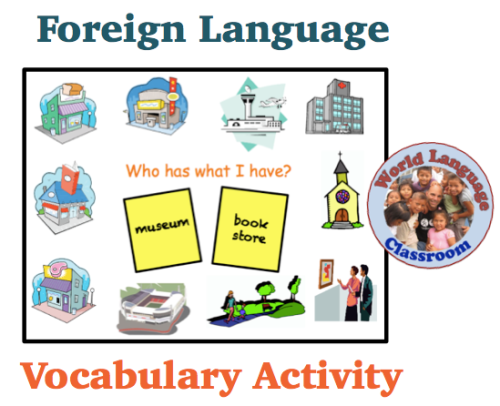 Foreign Language Vocabulary Review Game for the Whole Class (Who Has What I Have?) wlteacher.wordpress.com