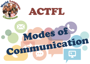 ACTFL Modes of Communication (SlideShare) (French, Spanish) www.wlclassroom.com