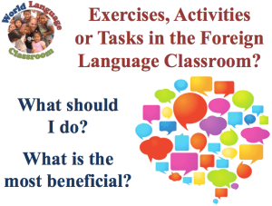 Task-Based Activities in the Foreign Language Classroom (SlideShare) (French, Spanish) www.wlclassroom.com