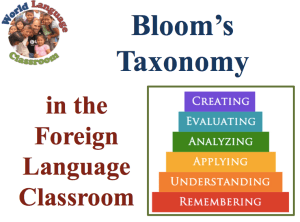 Bloom's (updated) taxonomy in the Foreign Language Classroom (SlideShare) www.wlclassroom.com