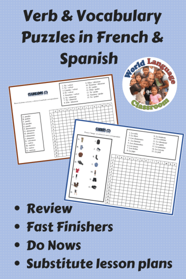 Foreign Language Vocabulary and Verb Form Puzzles-Great for Do Nows