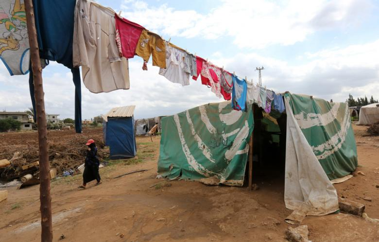 A small makeshift tent used by Syrian refugees in Lebanon