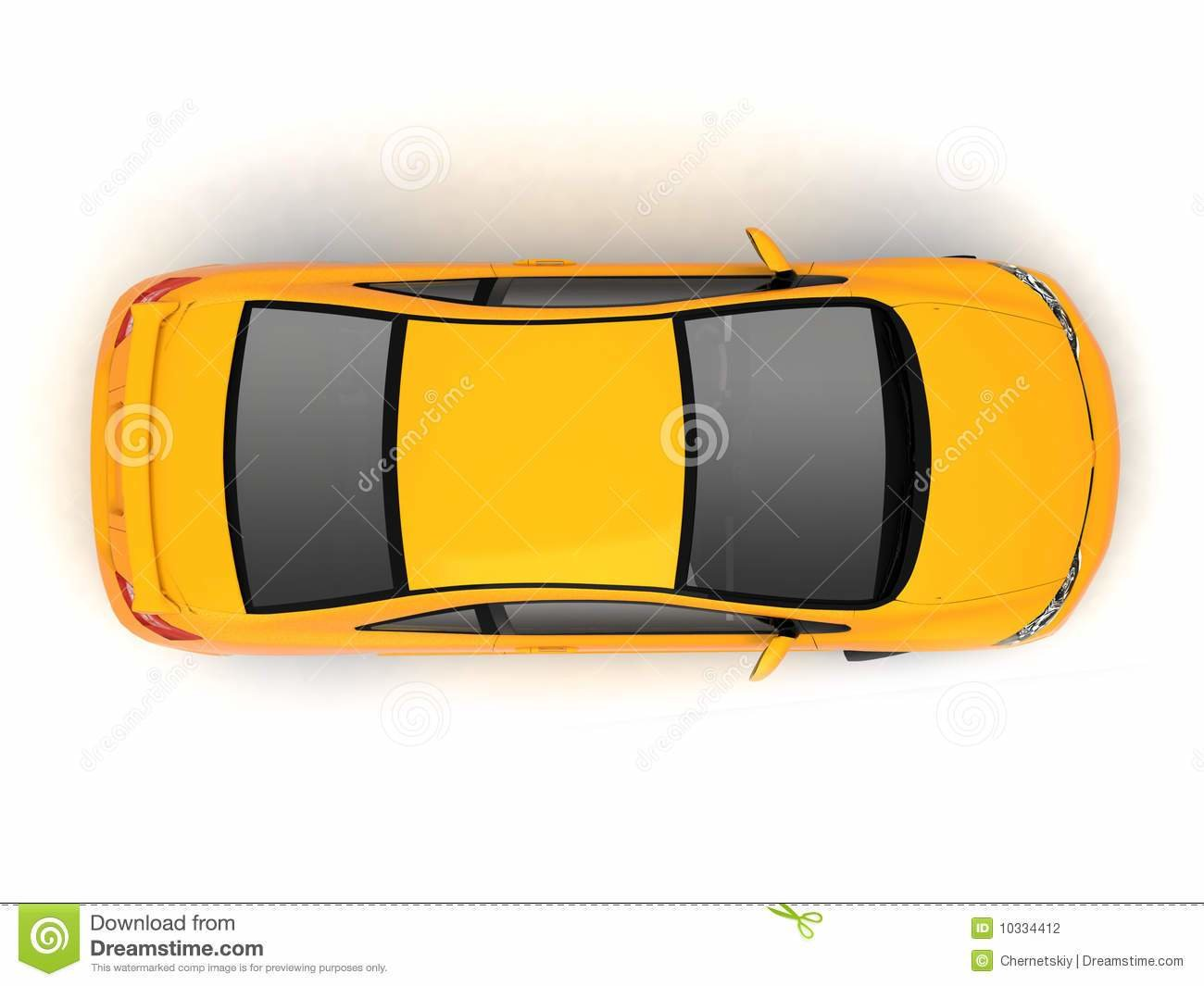 New Compact Yellow Car Top View Stock Photography Image On This Month