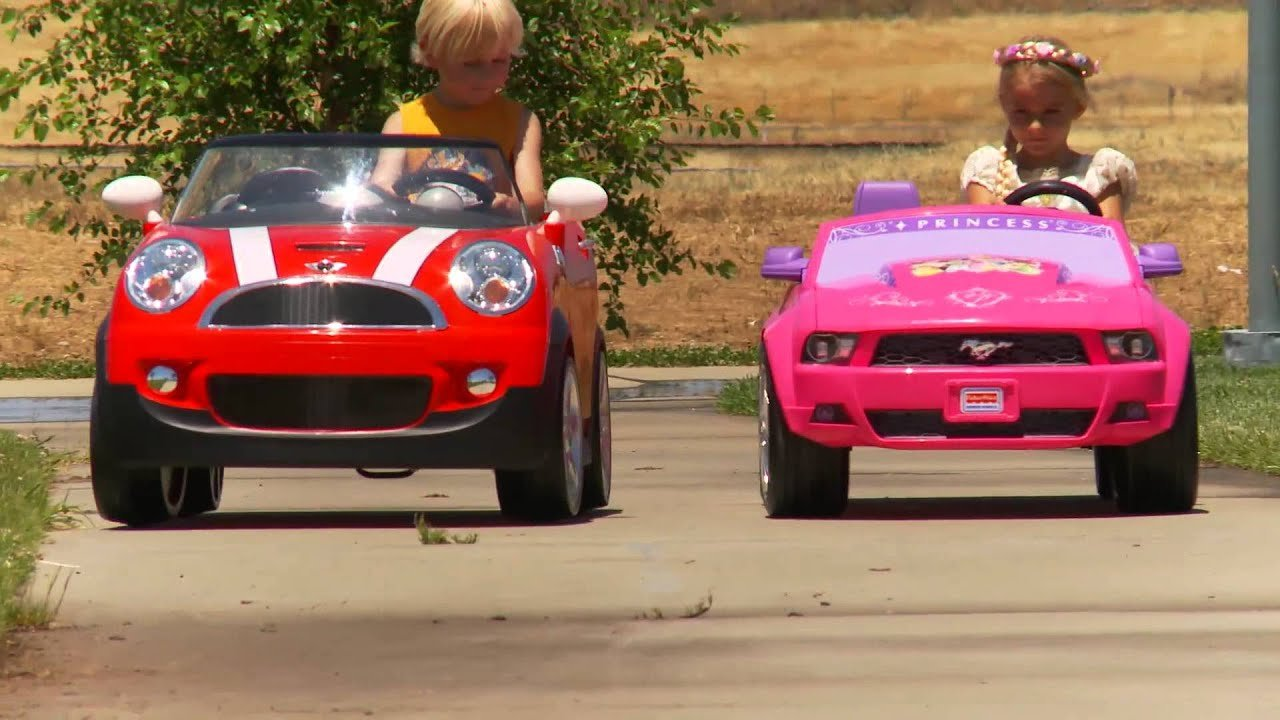 New Kids Ride On Car Race Mini Cooper Vs Disney Mustang On This Month