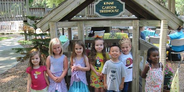 in front of Kinne Garden Treehouse