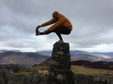 Trig pillars provide a great spot to practice some yoga... Few people can resist a trig pillar photo and if you check Instagram you'll see many with people standing on them, planking, popping their dog on top, and a good few yoga poses too. #GetOutside champion Aleks Kashefi-Mofrad managed a pistol squat on his recent visit to High Seat in the Lake District.