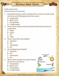 All about Water Cycles View  Printable 4th Grade Science ...